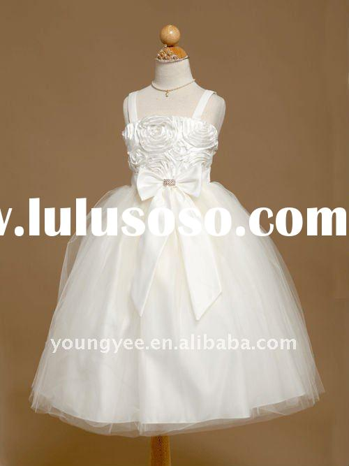 New design width straps kids evening gowns and flower girl dresses 2011,little girls party dresses