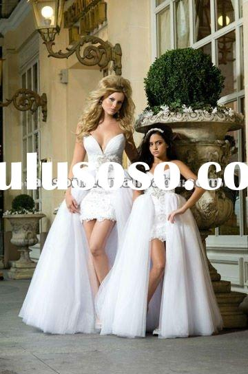 Newest sweetheart neckline short dress with removeable train wedding dress