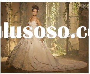 Noblest luxury strapless bodice lace emboridery floor-length big train satin wedding dress for bride