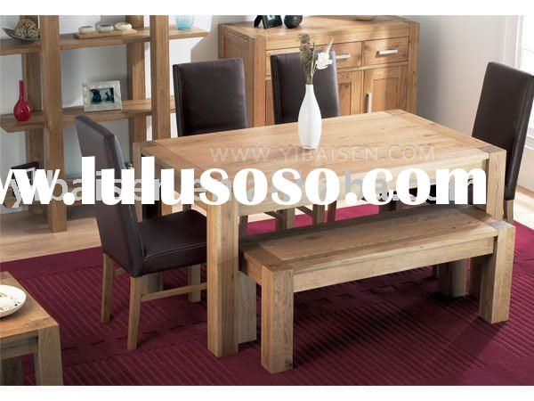 OAK DINING TABLE AND CHAIRwooden/wood furniture home dining room furniture