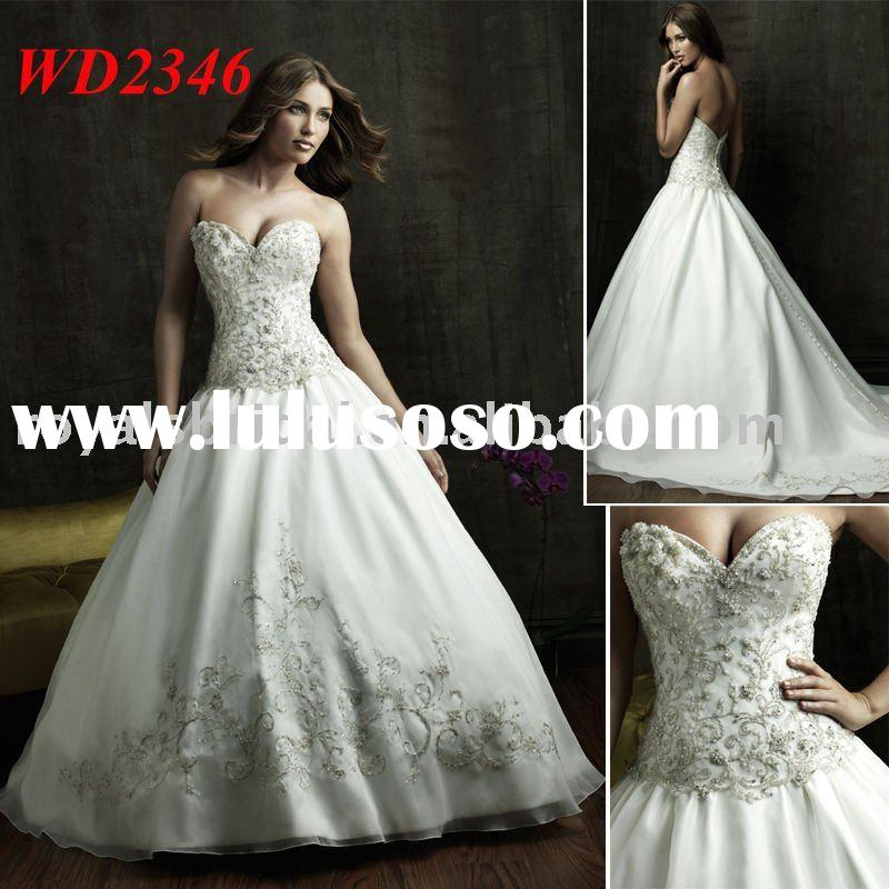 Off Shoulder Sweetheart Neckline Beaded Ball Gown Wedding Dress