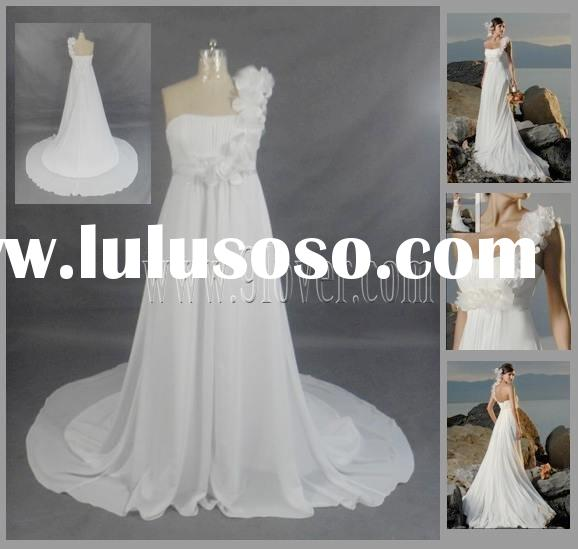 One Shoulder Chiffon Beach Wedding Dress|Plus size Bridal Gown|Maternity Wedding Dress