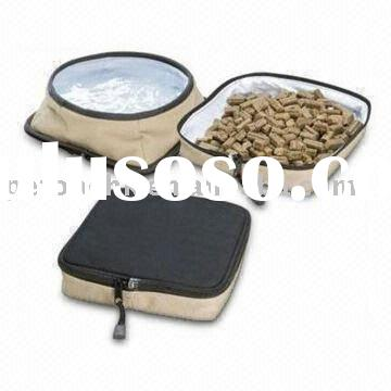 Pet Travel Bowl Set with Two Food and Water Bowls in One