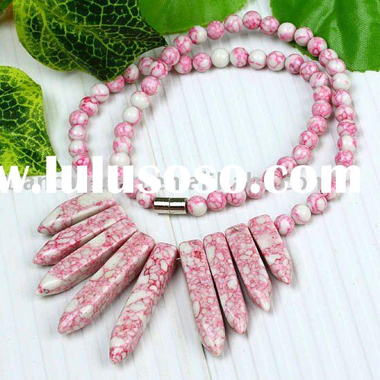 Pink Howlite Turquoise Round Spike Beads Necklace