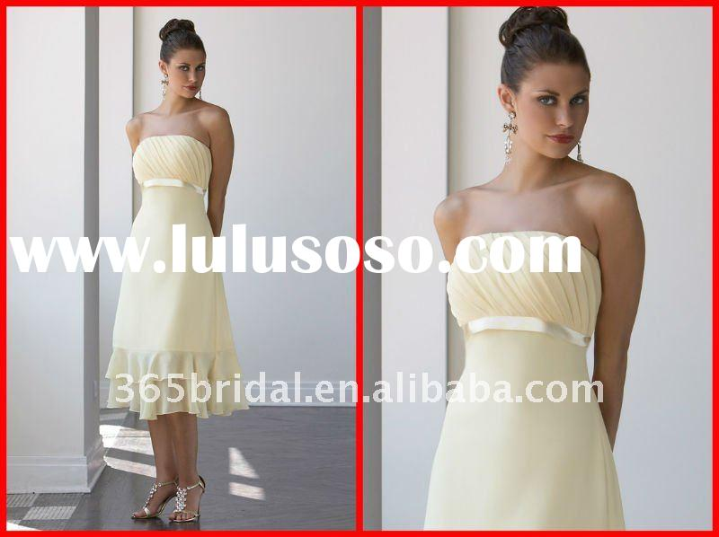 Pretty Tea-length Light Yellow Chiffon Bridesmaid Dress 2012