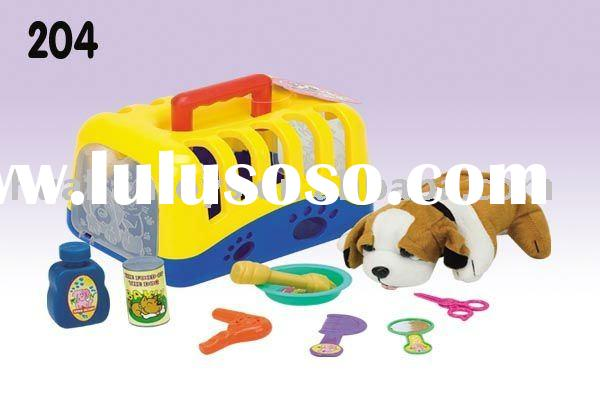 Puppy carrier pet toys dog pets and dogs plastic animal set
