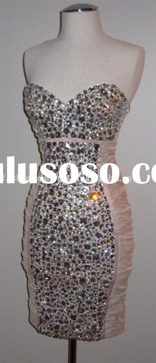 REAL277 2012 Stylish sweetheart neckline short length sparkle crystals evening dress