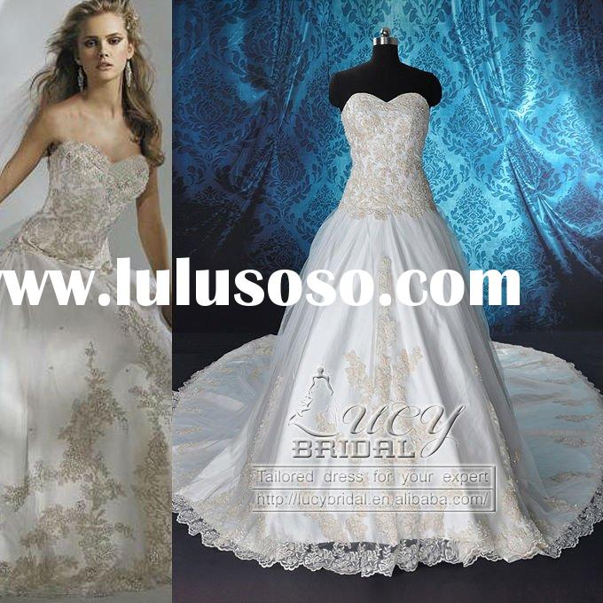Real-Made High Quality Satin Tulle Lace Beaded Wedding Dress DS0506