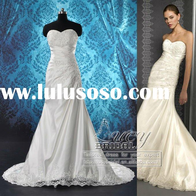 Real-Made High Quality Sweet-Heart Ruffle Satin Beaded Lace Wedding Dress DS0502