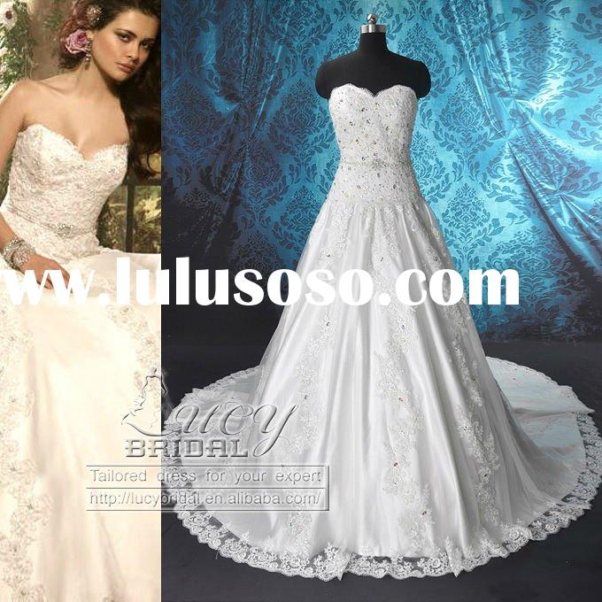 Real Swarovski Crystal Satin Lace Beaded Wedding Dress DS0544