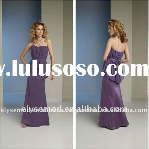 Romantic New Design Lavender Chiffon Strapless Patterns for Bridesmaids Dresses