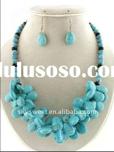 Semi-precious Stone Natural Stone Turquoise Costume Jewelry Set (SWT1524)