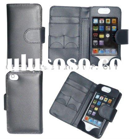 Sim card slot wallet style leather case for iphone 4g