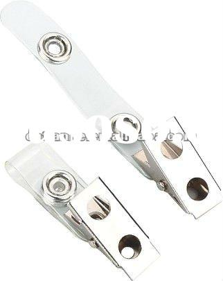 Spring jaw clip with metal popper
