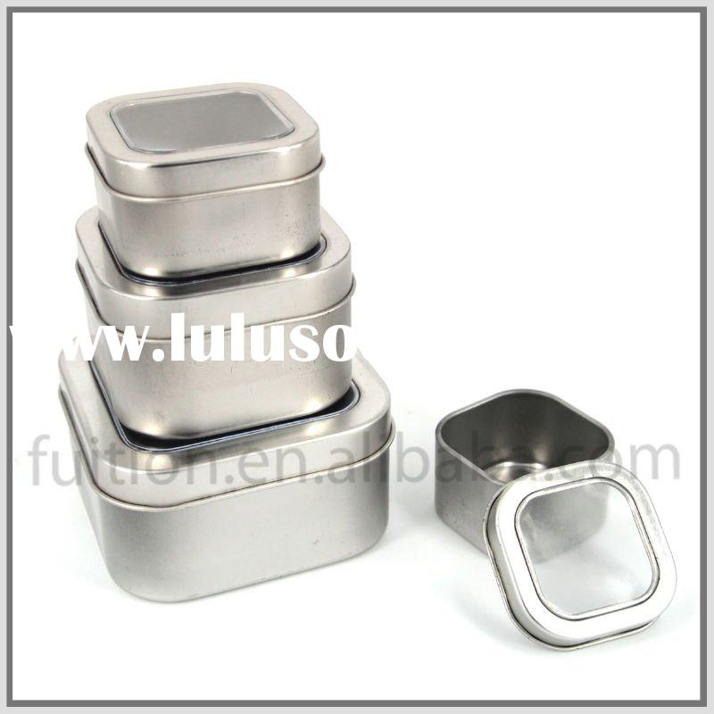 Square Tin Box Container with PVC Window