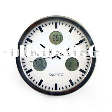 Stainless Steel Wall Clock with Digital Thermometer and Calendar RL3026,Wall Clock,Metal Wall Clock,