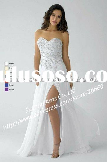 Straight Sweetheart Neckline Beaded Chiffon Long White Evening Gowns Dress ED758
