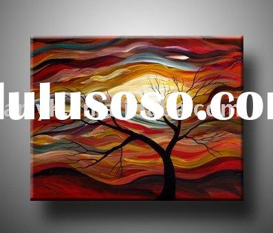 Stretched Modern Abstract Handpainted Tree Oil Painting