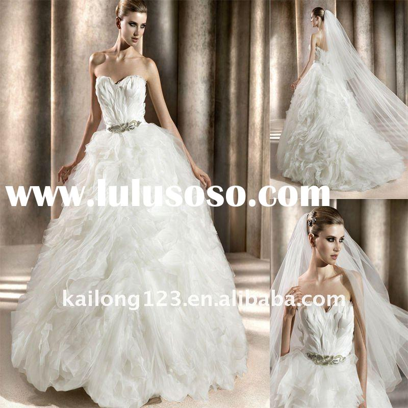 Sweetheart Ball Gown Feathered Ruffled Wedding Dress 2012