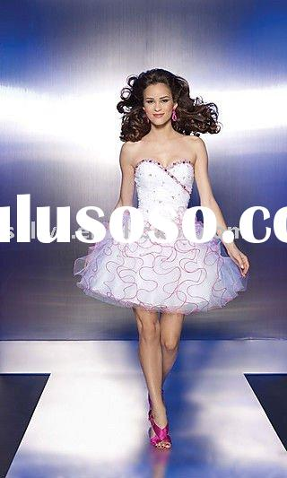 Tulle Strapless Sweetheart Neckline Short A Line 2011 Homecoming Party Dress wlf650
