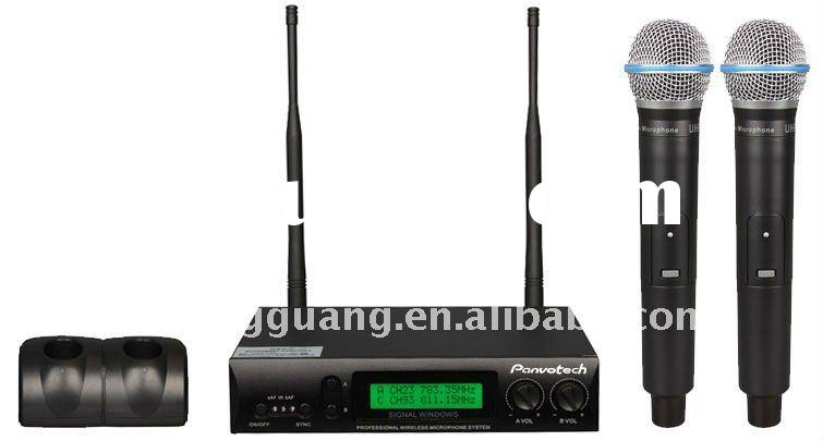UHF Dual channels muti-frequency wireless microphone with LCD display Manufacturer