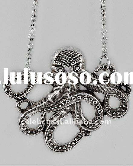 WLNE-4834-Burnished Silver Tone Lead Compliant Metal Octopus Necklace