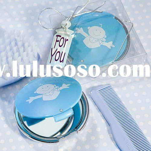 Wedding gift of Elegant Reflections Collection baby design mirror compact - Blue favor