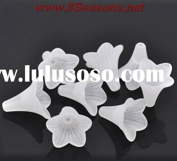 White Lily Flower Frosted Acrylic Beads 22x22mm