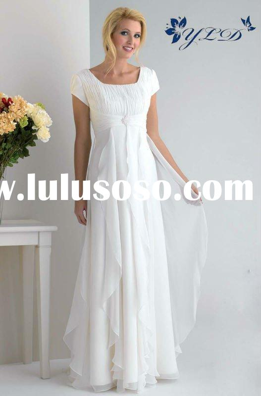 White chiffon short sleeve bridesmaid dress