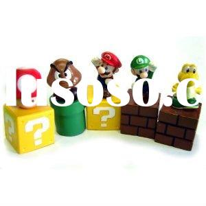 "Wholesale Keychain Super Mario Bros 1.5~2.5"" Lot 6 pcs Action Figure Doll Free Shipping Paypal"