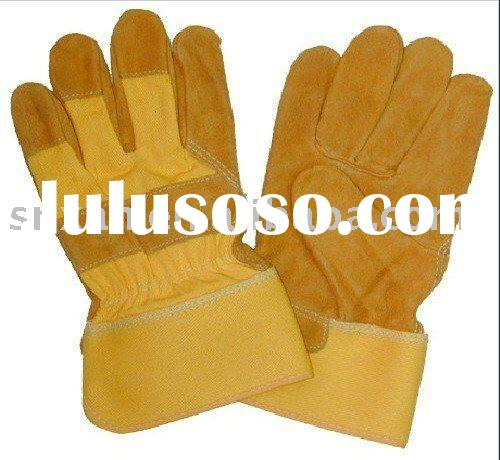 Yellow Split Cowhide Leather Glove