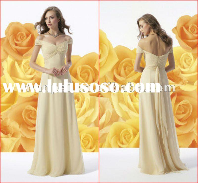 (MB-10)Off-Shoulder Pleated A-line Chiffon Light Yellow Cheap Bridesmaid Dresses