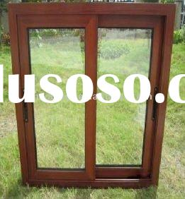 aluminum glass sliding window with wooden powder coating