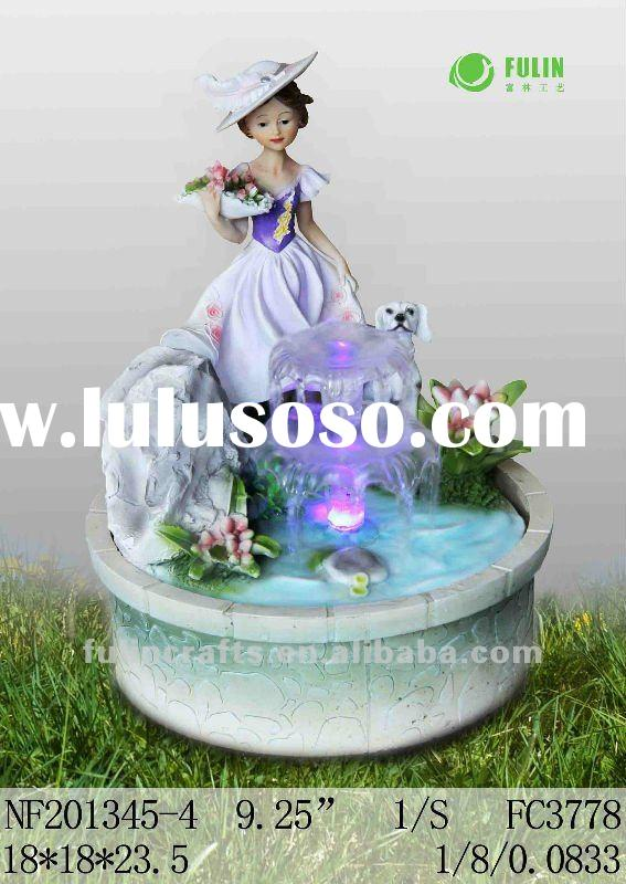 beautiful polyresin lady table water fountain with 3 colour LED