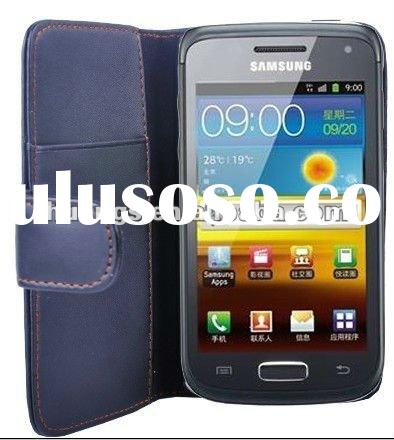 black wallet leather case for Samsung galaxy W i8150