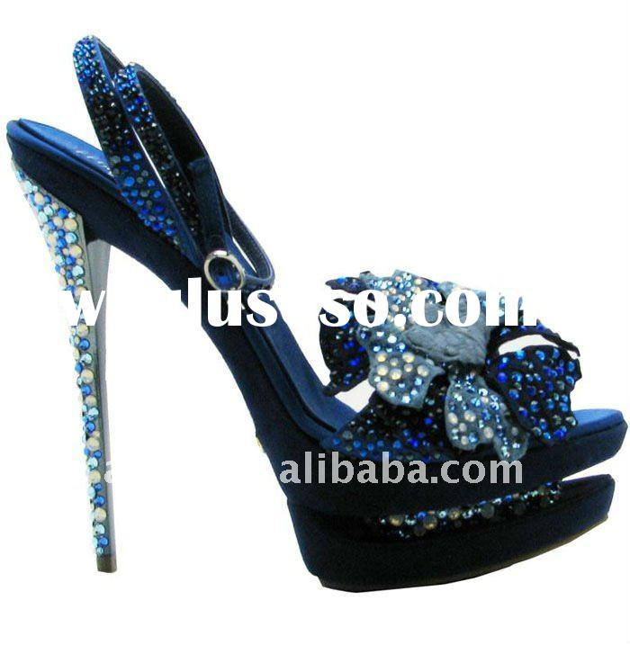 blue crystal sandal/diamond high heel shoes