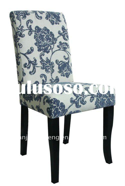 blue flower fabric dining chair