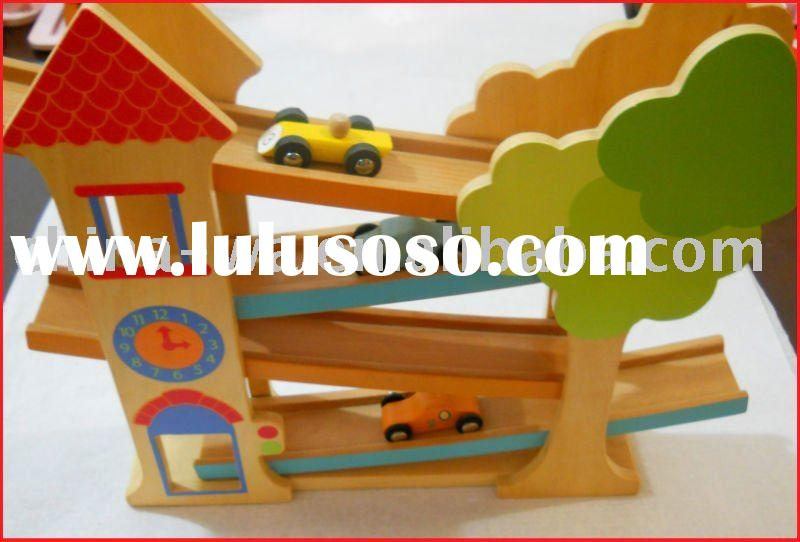 car race track toy set or wooden rail vehicle toy for children