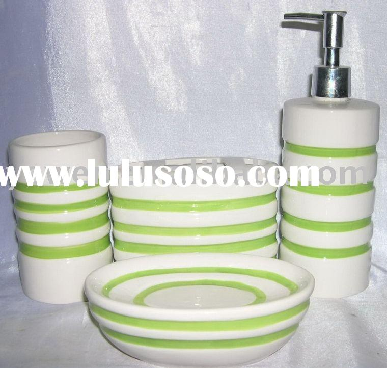 ceramic bathroom set,soap dish, soap dispenser,tumbler,toothbrush holder
