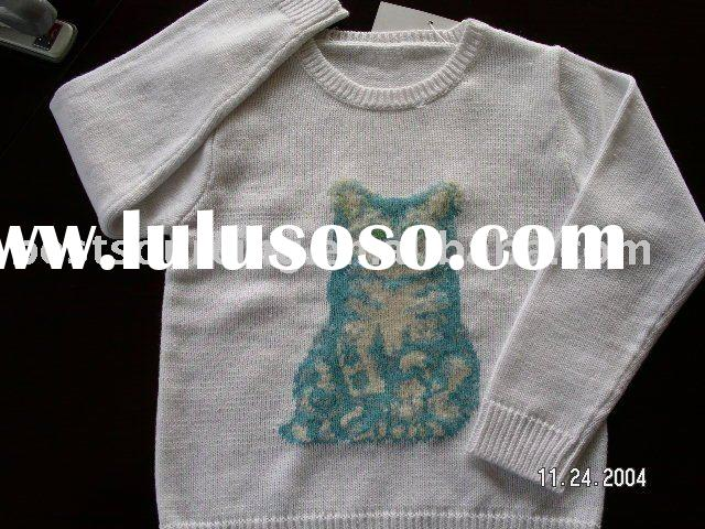 child clothing cotton 7gg intarsia cat pattern long sleeve crew neck kids girl's sweater inf