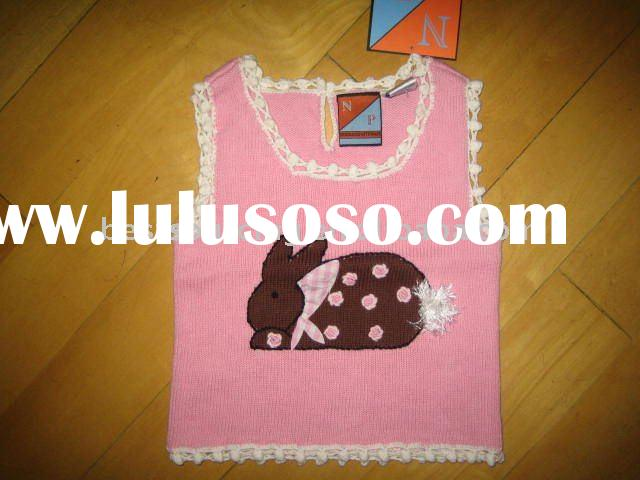 child knitwear cotton knitted 7gg intarsia rabbit baby girl's vest top sweater kids pullover