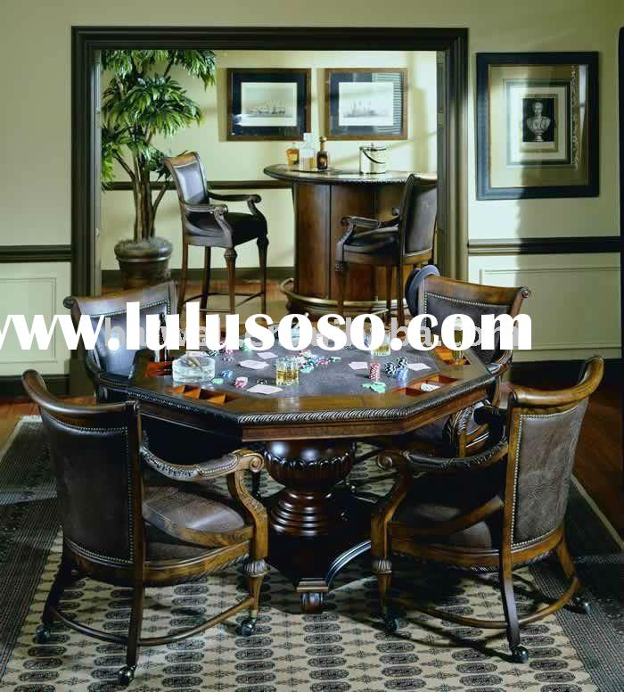 classic antique wooden hand carved octagon poker table