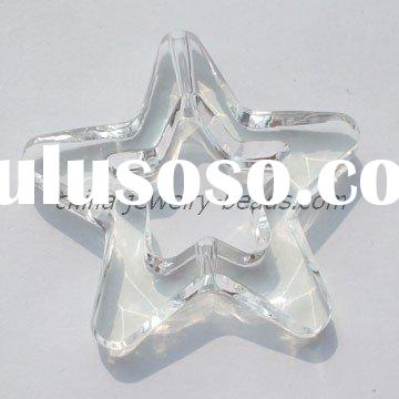 clear christmas star beads, large star beads ornaments, big crystal star pendants