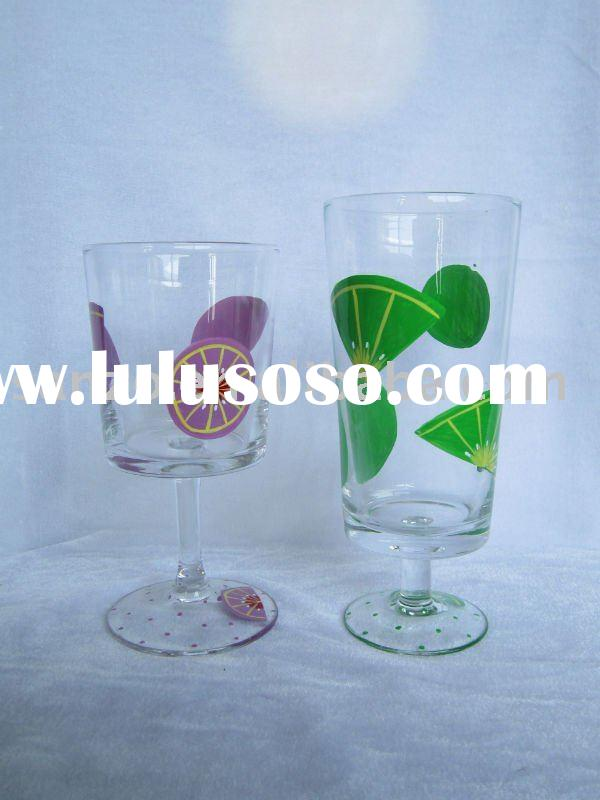 clear decal juice /wine glass sets with fruit designs