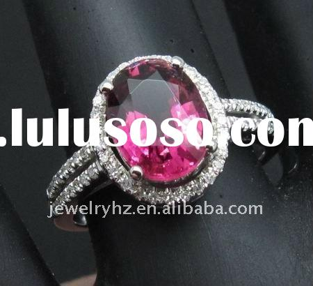 customized design wholesale 7x9mm Oval Cut SOLID 14k WHITE GOLD DIAMOND NATURAL PINK TOURMALINE RING