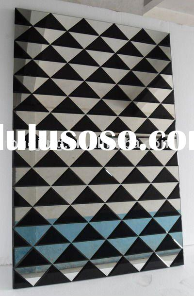 decorative wall mirror with black color and square shape