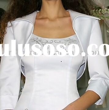 designer boutique long sleeves wedding dress jackets with collar WDJ-009