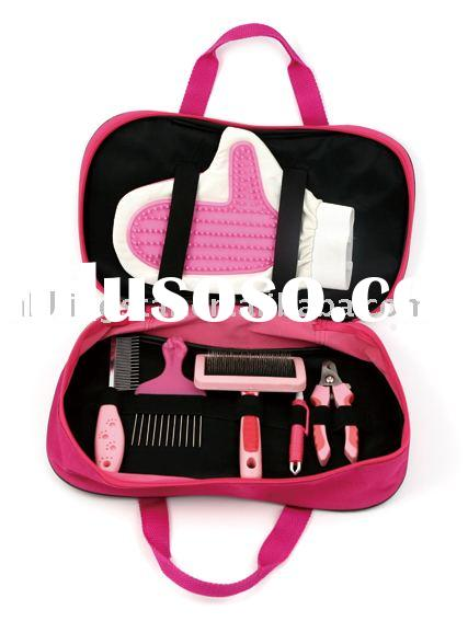 dog grooming kit 6 pc for one set.include glove,comb.nail clippers.brush.flea nip.massage brush.