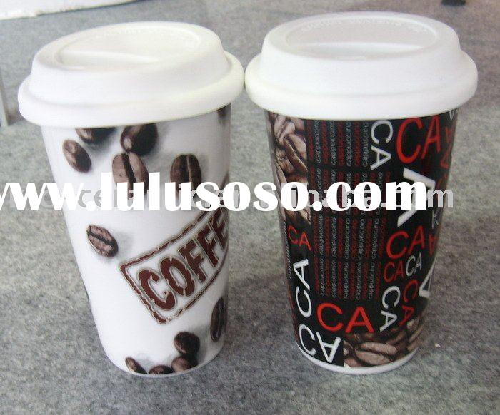 double wall mug with silicon lid,coffee to go