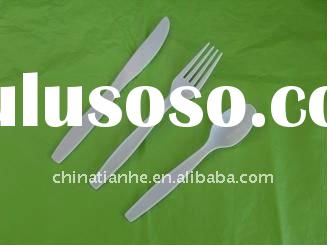 eco-friendly disposable cornstarch based biodegradable cutlery knife,fork,tea spoon